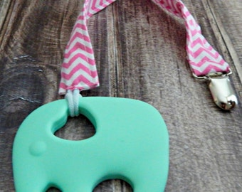 Coco Elephant Teether Clip Pacifier Clip By Happyteethdroolry