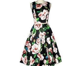 Black dress, Flower dress, Retro dress, Boat neck dress, Prom dress, Casual dress, Day dress, Custom made dress, Sleeveless dress MS42