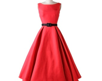 Red dress, Wedding dress, Bridal dress, Classic dress, Audrey Hepburn Style, Bridesmaid dress, Formal dress, Fit and flared Dress MS16