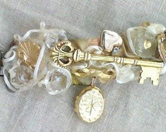 "Ornate Vintage Jewel Cinch Clip ""Key,Heart & Locket"", hand fashioned one-of-a-kind"