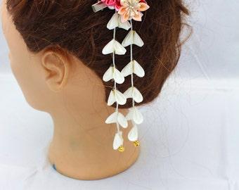 kanzashi hair clip-kanzashi flower--Kanzashi, geishas hair piece,Japanese hair clip,,Kanzashi flower-Janpanese Kanzashi