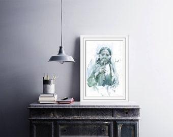 """Art prints of watercolor painting """"Indian Ituha - White Stone"""" - American Indian painting - watercolor indian - American Indian art"""