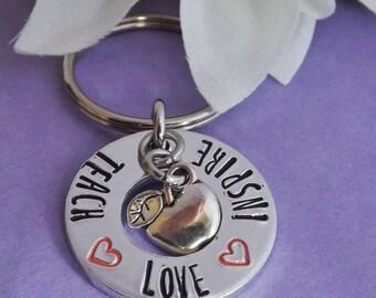 Teacher Keyring - Teacher Keychain Hand Stamped Teach Love Inspire - Assistant Gift - Key Worker - Support Worker Keychain - End Of Year