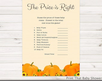 The Price is Right Baby Shower Game - Pumpkin Baby Shower Games -  Baby Price Is Right - Pumpkin