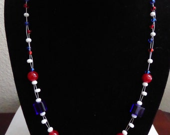 Beaded Patriotic Red, White, and Blue 4th of July Necklace