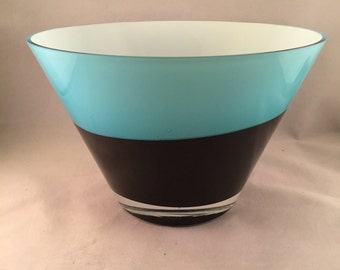 Vintage Large Hand Blown Glass Bowl, Made in Poland