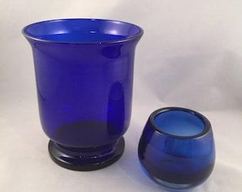 Vintage Cobalt Blue Candle Holder and Vase