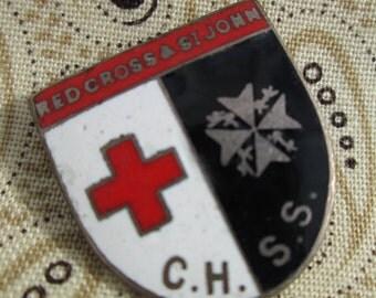 Red Cross Pin, vintage red cross St John Pin red cross brooch