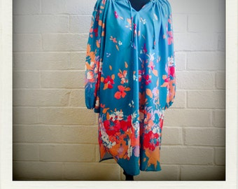 Hawaiian Sea Blue Stretch Polyester Floral Lounging Dress
