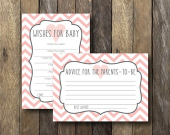 Pink Baby Shower Printables - Instant Download Baby Shower Games - Printable Wishes for Baby - Parents to Be Advice - Pink Baby Shower