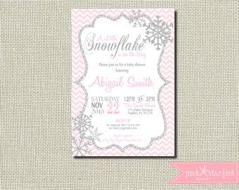 Baby Shower Invitation, Snowflake Baby Shower Invitation, Winter Baby Shower Invitation, Chevron Invitation, Snowflake Invitation, Glitter