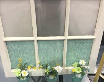 Frosted Flower Basket Window Pane