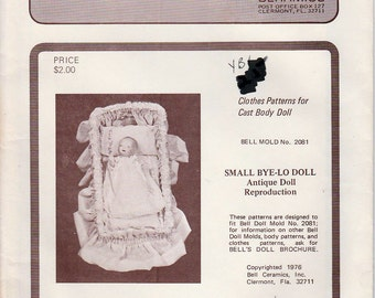 Bell Ceramics Doll Clothes Pattern Small Bye-Lo Doll Reproduction Mold 2081