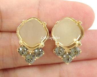 Cushion Cut Gold Plated Stud Earring Base Fits 12mm 4470 With 3 Swarovski Crystal BLACK DIAMOND Rhinestones 1 Pair
