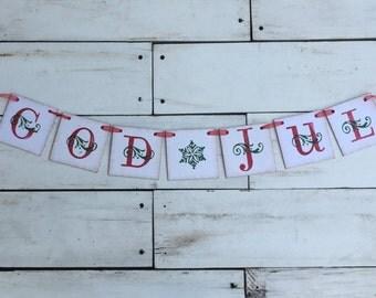 God Jul Banner • Norwegian Banner • Christmas Banner • Christmas Garland