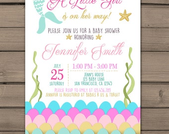 Mermaid baby shower invitation Under the sea baby shower invitation its a girl baby shower Mermaid tail Pink Gold Digital PRINTABLE mer