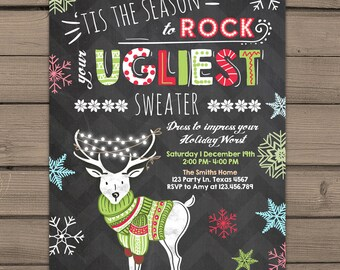Ugly sweater invitation Printable Christmas ugly sweater party Red Green Chalkboard Snowflakes deer Sweater Annual Christmas party PRINTABLE