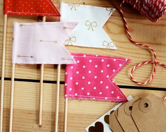 Valentine's Day Happy Flags Set of Five
