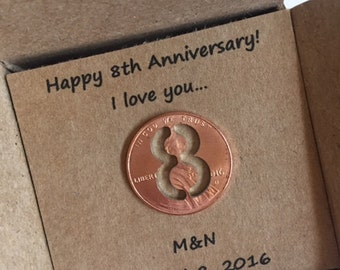 8th Anniversary, Happy Anniversary, Anniversary Gift, Eight Year, Lucky Penny, anniversary gift for him, anniversary gift for her