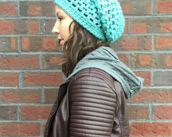 Teal Colored Slouch Hat - Turquoise Slouch, Blue Slouch Hat - Slouchy Beanie - Crochet Slouch Hat - Winter Slouch Hat - Winter Hat - Women's