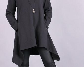 Tunic, Gray asymmetric sweater, long tunic, autumn tunic with raglan sleeves by UrbanMood - CO-MONA-QC