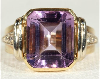 Vintage Retro Amethyst and Diamond Ring in 18k Gold, c. 1950