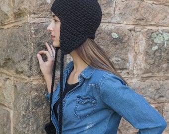 Earflap Hat // Pom Pom Hat with Tassels // Aviator Hat // THE MARGOT shown in Black