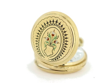 Louis Jacote Locle 18K Gold Flower Pocket Watch