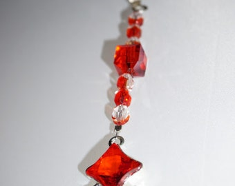 Red Crystal,  Ceiling Fan Pull,  Light Pull,  Glass and Crystal,   Root Chakra,   Ready To Ship,   Promo Code
