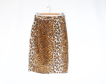 Vintage 80s 90s animal leopard print furry pencil skirt S