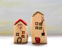 Set of two little ceramic houses home decoration , White home decor , Small ceramic houses , Home & living , Ceramics and pottery sculpture