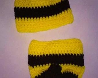Crochet newborn baby bumble bee, newborn bee photo prop, bumble bee diaper cover set photography prop, 2pc diaper set, bumble bee hat, boy