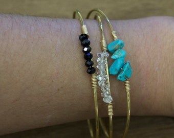 RIGID BRACELET in gold filled 14k and beads, now 20% off