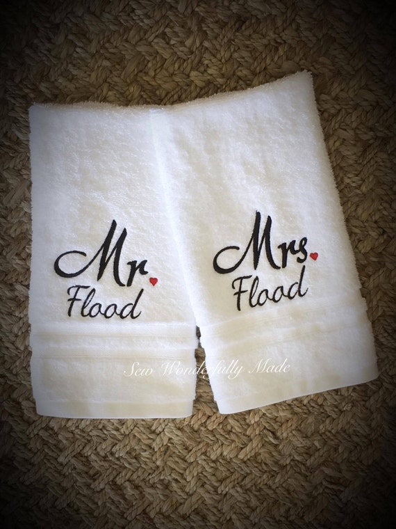 Mr and mrs wedding gift mr and mrs hand towels mr mrs for Embroidered towels for wedding gift