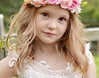 Pink Flower Wreath Headband Halo Hair Wreath, Boho Flower Girl Hair Wreath, Flower Girl Hair Accessories