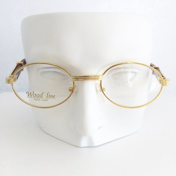 Gold and wood eyewear Gold plated round shape by LookEyewear