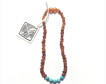adult: baltic amber necklace + turquoise