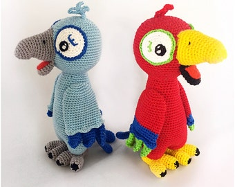 Parrot amigurumi pattern crochet pdf tutorial  decrible in Dutch, Deutsch and Englisch US terms