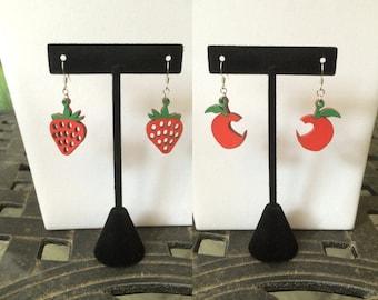 Laser-Cut Fruit Earrings - Hand Painted