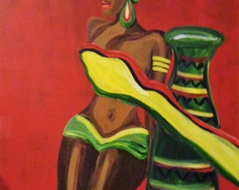 Original African American black art painting on board signed