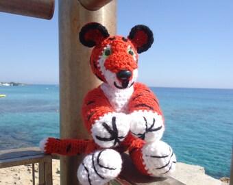 Tiger Toy Stuffed animal Tiger knit Plush tiger Chubby tiger Stuffed Tiger toy Tiger toy Knit orange Tiger Сhildren's Birthday Gift Baby toy