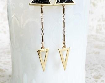 Double Triangle Earring // Art Deco Arrow Earrings // Gold and Black Earrings // Double Dangle Post Earrings // Dangle Triangle Stud Earring