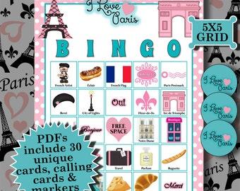 I LOVE PARIS 5x5 Bingo printable PDFs contain everything you need to play Bingo.