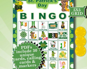 ST. PATRICK'S Day 5x5 Bingo printable PDFs contain everything you need to play Bingo.