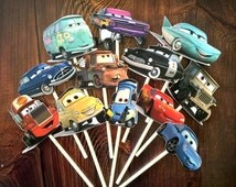 12- DISNEY CARS Cupcake and Cake Toppers Party Supplies