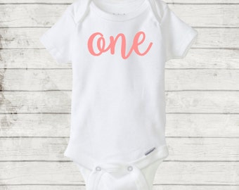 One Year Cursive/Script Birthday Onesie/Bodysuit. CUSTOM/Any color. 12 month/one year baby birthday gift