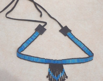 Beaded choker, Native American inspired choker, hand made jewelry, necklaces, southwestern, country western, boho, hippie, chic