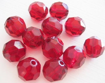 Supplies ~  Red  Arylic  Beads  12pc  16mm    Round Faceted