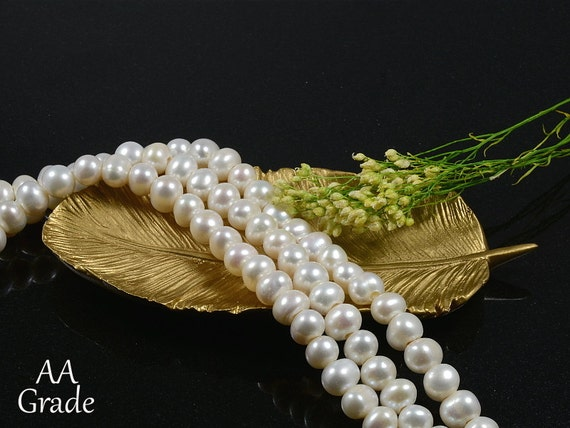 8mm - 9mm Freshwater Pearls, Large Hole (2.5mm), Genuine White Freshwater Pearls AA Grade, Potato Shape Pearls -10 pcs/ order