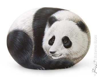 Rock Painted Giant Panda | Fine Detailed Hand Painted Stone | The Art of Painting Rocks by Roberto Rizzo